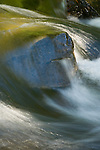 Water flowing over rock in alpine stream, Desolation Wilderness, El Dorado National Forest, California