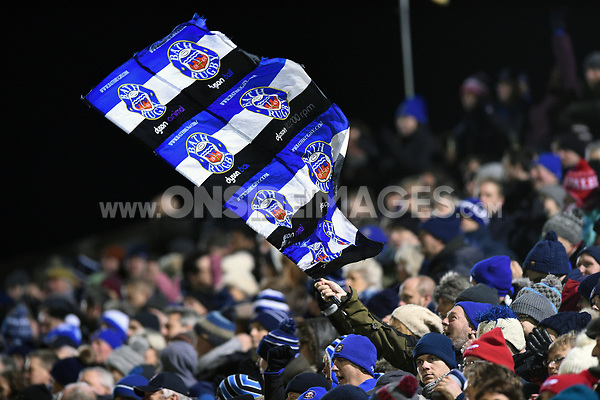 Supporters in the crowd celebrate a try. European Rugby Champions Cup match, between Bath Rugby and the Scarlets on January 12, 2018 at the Recreation Ground in Bath, England. Photo by: Patrick Khachfe / Onside Images