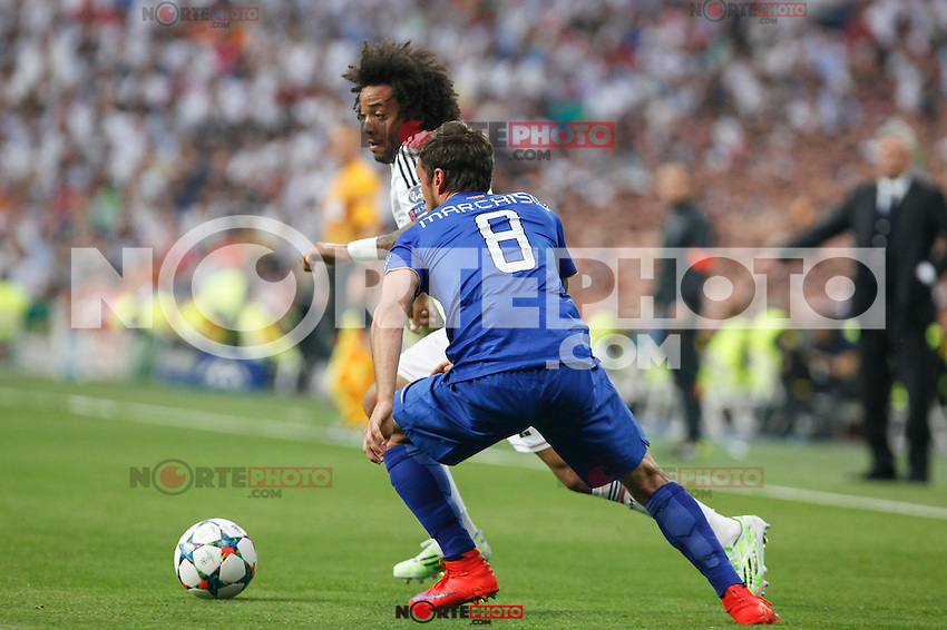 Real Madrid´s Marcelo Vieira during the Champions League semi final soccer match between Real Madrid and Juventus at Santiago Bernabeu stadium in Madrid, Spain. May 13, 2015. (ALTERPHOTOS/Victor Blanco) /NortePhoto.COM