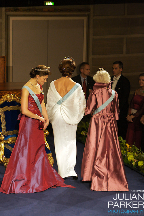 The Swedish Royal Family attend The Nobel Prize Award Ceremony at Stockholm Concert Hall, in Sweden..Queen Silvia, and Crown Princess Victoria of Sweden and Princess Lillian attend.