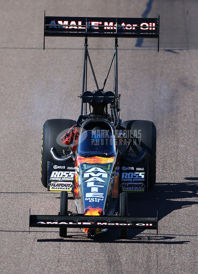 Feb 26, 2016; Chandler, AZ, USA; NHRA top fuel driver Terry McMillen during qualifying for the Carquest Nationals at Wild Horse Pass Motorsports Park. Mandatory Credit: Mark J. Rebilas-