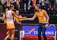 Den Bosch, The Netherlands, Februari 9, 2019,  Maaspoort , FedCup  Netherlands - Canada, second match : Arantxa Rus  (NED) is celebratiën winning the second set with captain Paul Haarhuis<br /> Photo: Tennisimages/Henk Koster