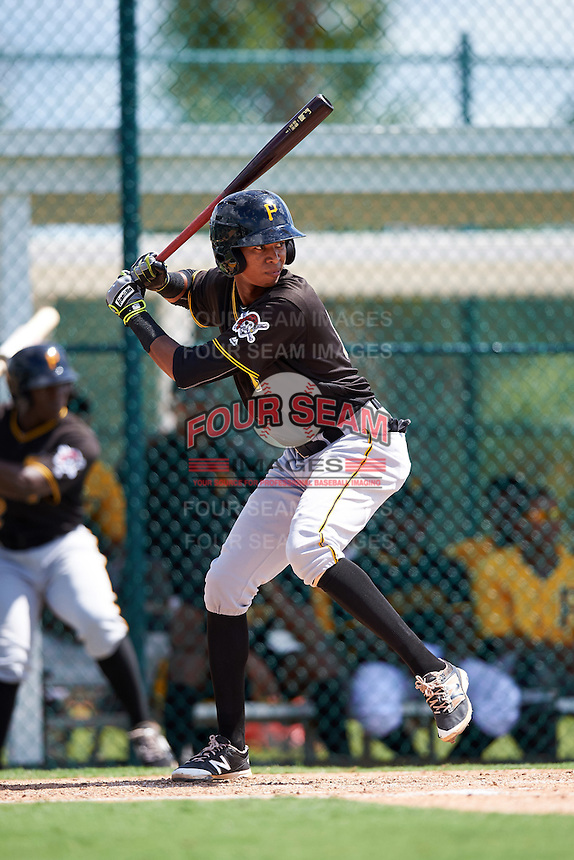 Pittsburgh Pirates Alfredo Reyes (12) during an Instructional League Intrasquad Black & Gold game on September 28, 2016 at Pirate City in Bradenton, Florida.  (Mike Janes/Four Seam Images)