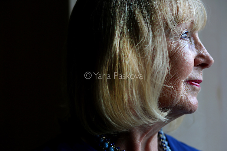 MANHATTAN, NY - SEPTEMBER 06, 2016: Philanthropist Jacqueline de Chollet poses for a portrait inside her apartment in Manhattan, New York, on September 06, 2016. De Chollet is the founder of the Veerni Project in Jodhpur and the Global Foundation for Humanity U.S., which support the health and education of adolescent girls in U.S.A and India.  <br /> <br /> Photo by: Yana Paskova for NPR