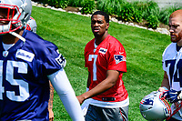 June 13, 2017: New England Patriots quarterback Jacoby Brissett (7) walks to the practice field at the New England Patriots organized team activity held on the practice field at Gillette Stadium, in Foxborough, Massachusetts. Eric Canha/CSM