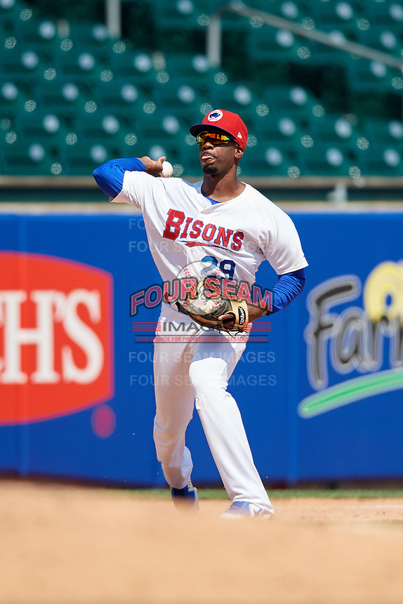 Buffalo Bisons third baseman Darnell Sweeney (29) throws to first base during a game against the Pawtucket Red Sox on June 28, 2018 at Coca-Cola Field in Buffalo, New York.  Buffalo defeated Pawtucket 8-1.  (Mike Janes/Four Seam Images)