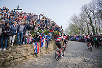 up the infamous Kapelmuur /Muur van Geraardsbergen<br /> <br /> 103rd Ronde van Vlaanderen 2019<br /> One day race from Antwerp to Oudenaarde (BEL/270km)<br /> <br /> ©kramon