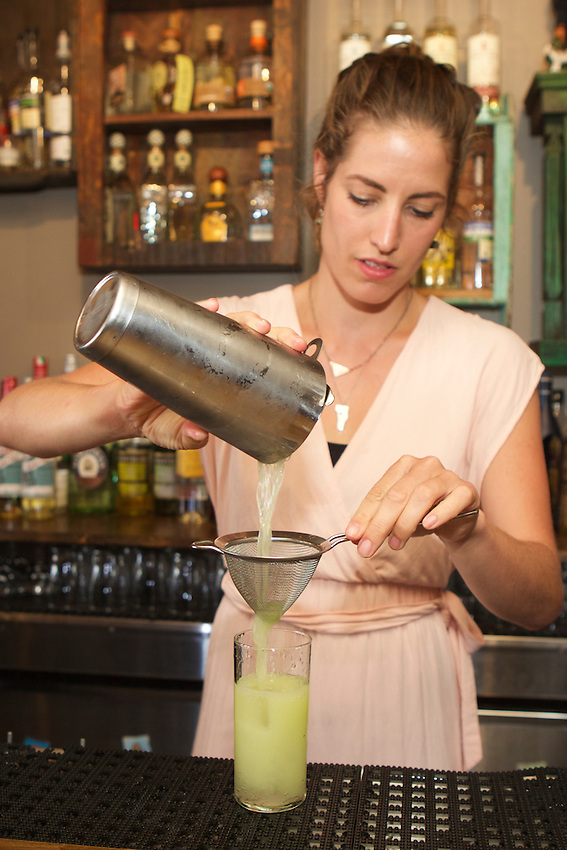 BROOKLYN, NY - July 28, 2015: Ivy Mix, bartender and owner of Leyenda, a Pan-Latin cocktail bar in Carroll Gardens by the team behind nearby Clover Club. CREDIT: Clay Williams for Latina Magazine.<br /> <br /> &copy; Clay Williams / claywilliamsphoto.com