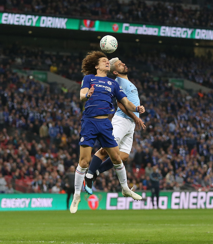 Chelsea's David Luiz and Manchester City's Sergio Aguero<br /> <br /> Photographer Rob Newell/CameraSport<br /> <br /> The Carabao Cup Final - Chelsea v Manchester City - Sunday 24th February 2019 - Wembley Stadium - London<br />  <br /> World Copyright © 2018 CameraSport. All rights reserved. 43 Linden Ave. Countesthorpe. Leicester. England. LE8 5PG - Tel: +44 (0) 116 277 4147 - admin@camerasport.com - www.camerasport.com