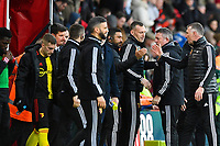 Watford managerNigel Pearson right celebrates with his staff at the final whistle during AFC Bournemouth vs Watford, Premier League Football at the Vitality Stadium on 12th January 2020