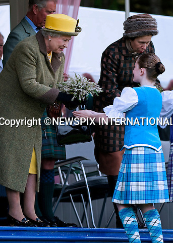"""THE QUEEN.The Royal Family were in high sprits as they enjoyed the Braemar Gathering as well as a few jokes from Prince Charles. .attend The 2009 Braemar Gathering..The Queen who is the patron of the Braemar Royal Highland Society, attended with both Prince Charles and the Duke of Edinburgh in traditional Scottish dress, Braemar, Scotland_05/09/09.Mandatory Credit Photo: ©DIAS-NEWSPIX INTERNATIONAL..Please telephone : +441279324672 for usage fees..**ALL FEES PAYABLE TO: """"NEWSPIX INTERNATIONAL""""**..IMMEDIATE CONFIRMATION OF USAGE REQUIRED:.Newspix International, 31 Chinnery Hill, Bishop's Stortford, ENGLAND CM23 3PS.Tel:+441279 324672  ; Fax: +441279656877.Mobile:  07775681153.e-mail: info@newspixinternational.co.uk"""