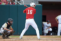 Shane Shepard (16) of the North Carolina State Wolfpack at bat against the Army Black Knights at Doak Field at Dail Park on June 3, 2018 in Raleigh, North Carolina. The Wolfpack defeated the Black Knights 11-1. (Brian Westerholt/Four Seam Images)