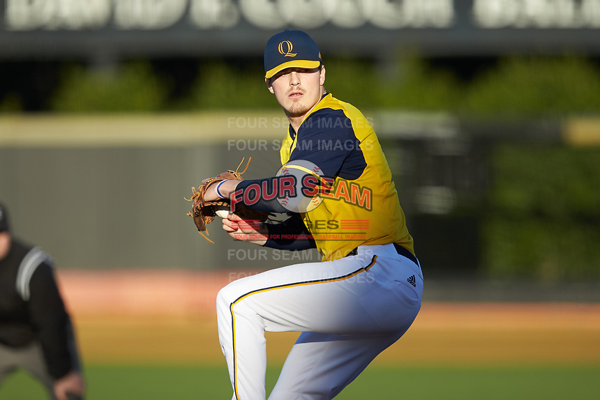 Quinnipiac Bobcats starting pitcher Arthur Correira (35) in action against the Elon Phoenix at David F. Couch Ballpark on February 24, 2019 in  Winston-Salem, North Carolina. (Brian Westerholt/Four Seam Images)
