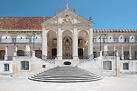 The Via Latina, a colonnaded balcony with central staircase topped by a triangular pediment, and portico of 1700-02 designed by Claude Laprade, 1682-1738, with bust of King Jose I added in 1773, at the University of Coimbra in the former Palace of the Alcazaba, Coimbra, Portugal. The University of Coimbra was first founded in 1290 and moved to Coimbra in 1308 and to the royal palace in 1537. The buildings are listed as a historic monument and a UNESCO World Heritage Site. Picture by Manuel Cohen