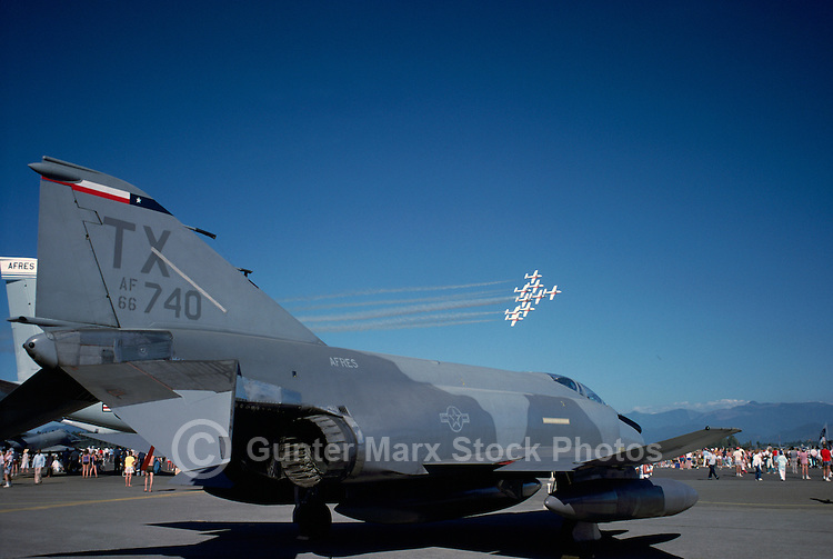 McDonnell Douglas F-4 Phantom II on Static Display - Abbotsford International Airshow, BC, British Columbia, Canada - Canadian Forces Snowbirds flying in Close Formation in background
