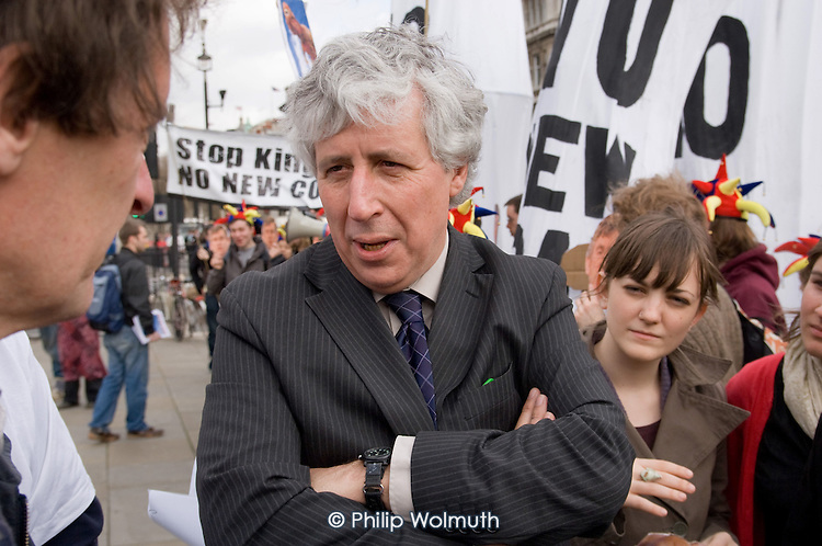 Martin Salter, Labour MP for Reading West, joins a People & Planet protest outside Parliament against a proposal to build a coal-fired power station in Kingsnorth, Kent.