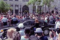 Celine Dion et Rene Angelil au Bapteme de Rene-Charles, le 23 Juilllet 2001, a la Basilique Notre-Dame de Montreal<br /> <br /> PHOTO :  Agence Quebec presse