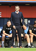 Luton Town manager Nathan Jones watches his side from the dug outs during the Sky Bet League 2 match between Luton Town and Yeovil Town at Kenilworth Road, Luton, England on 13 August 2016. Photo by Liam Smith.