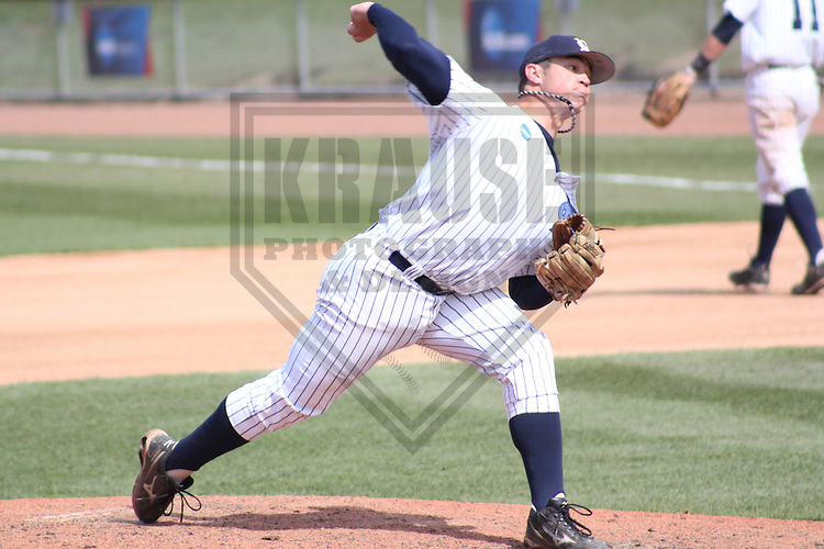 APPLETON - MAY 2011: Mark Williams (40) of the Marietta Pioneers during a NCAA Division III Baseball Championship game on May 27, 2011 at Fox Cities Stadium in Appleton, Wisconsin. (Photo by Brad Krause) ....