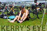 Artur Nowak from the Tralee Tri Club in the Transition area as he prepares for the final stage of the Hardman Skellig Coast Triathlon in Waterville on Saturday the first event of its kind this year.