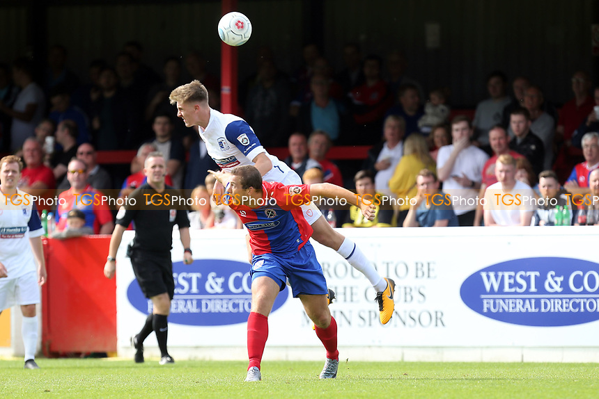Jimmy Dunne of Barrow and Michael Cheek of Dagenham during Dagenham & Redbridge vs Barrow, Vanarama National League Football at the Chigwell Construction Stadium on 5th August 2017