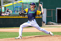 Beloit Snappers pitcher Zack Erwin (26) delivers a pitch during a Midwest League game against the Cedar Rapids Kernels on September 3, 2017 at Pohlman Field in Beloit, Wisconsin. Beloit defeated Cedar Rapids 3-2. (Brad Krause/Four Seam Images)
