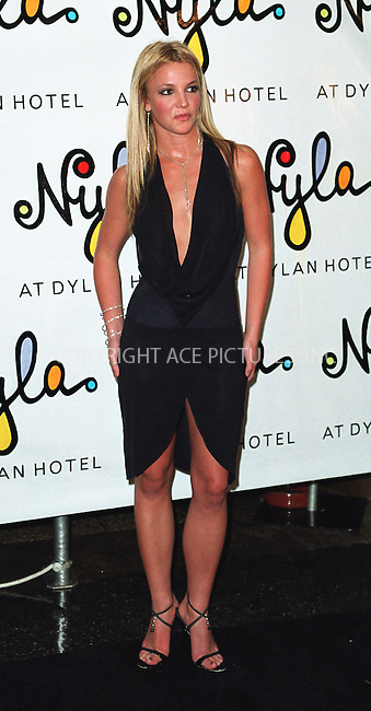 Britney Spears at the opening of her new restaurant called Nyla at Dylan Hotel in New York. June 27, 2002. Please byline: Alecsey Boldeskul/NY Photo Press.   ..*PAY-PER-USE*      ....NY Photo Press:  ..phone (646) 267-6913;   ..e-mail: info@nyphotopress.com