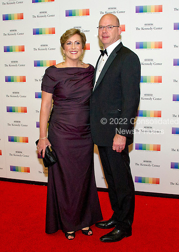 Deborah F. Rutter, President, John F. Kennedy Center for the Performing Arts and her husband, Peter Ellefson, arrive for the formal Artist's Dinner honoring the recipients of the 39th Annual Kennedy Center Honors hosted by United States Secretary of State John F. Kerry at the U.S. Department of State in Washington, D.C. on Saturday, December 3, 2016. The 2016 honorees are: Argentine pianist Martha Argerich; rock band the Eagles; screen and stage actor Al Pacino; gospel and blues singer Mavis Staples; and musician James Taylor.<br /> Credit: Ron Sachs / Pool via CNP