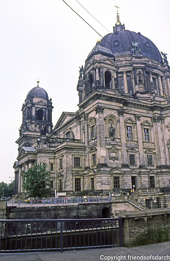 East Berlin: The Cathedral. Erected in the 1890's--designed  to outdo St. Peter's in scale, color and decoration. Designed by Julius Raschdorff in a Baroque style with Italian Renaissance influence. Photo '87.