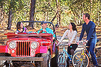 couples enjoying outdoors,  off road driving and bicycling