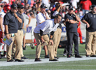 Annapolis, MD - September 23, 2017: Cincinnati Bearcats head coach Luke Fickell in action during the game between Cincinnati and Navy at  Navy-Marine Corps Memorial Stadium in Annapolis, MD.   (Photo by Elliott Brown/Media Images International)