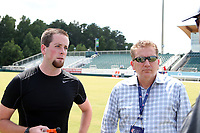 Cary, North Carolina  - Saturday August 19, 2017: Fourth Official Ryan Graves and Lifetime producer Michael Cohen prior to a regular season National Women's Soccer League (NWSL) match between the North Carolina Courage and the Washington Spirit at Sahlen's Stadium at WakeMed Soccer Park. North Carolina won the game 2-0.