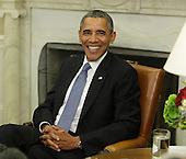 U.S. President Barack Obama photographed in the White House in Washington, DC after holding a bi-lateral meeting with Israeli Prime Minister Benjamin Netanyahu, Monday, September 30, 2013. <br /> Credit: Chris Kleponis / Pool via CNP