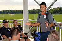 U-17 head coach Wilmer Cabrera talks with coaches after the game. The US U-17 Men's National Team defeated the Development Academy Select Team 5-3 during day two of the US Soccer Development Academy  Spring Showcase in Sarasota, FL, on May 23, 2009.