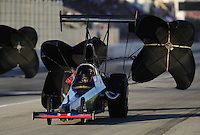 Nov 14, 2010; Pomona, CA, USA; NHRA top alcohol dragster driver Michael Manners during the Auto Club Finals at Auto Club Raceway at Pomona. Mandatory Credit: Mark J. Rebilas-