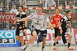 Nach 167 L&auml;nderspielen mit 576 Toren beendet Holger Glandorf seine Karriere in der deutschen Handball-Nationalmannschaft. Der 31-j&auml;hrige Linksh&auml;nder war 2007 Weltmeister und gewann im Juni mit der SG Flensburg-Handewitt die Champions League<br /> Archiv aus: <br />  11.12.2011, Wuppertal, GER, 1.Toyota Handballbundesliga 2011-2012, BHC06 vs. SG Flensburg-Handewitt, im Bild Holger Glandorf ( SG Flensburg-Handewitt #9 ) mitder Jubelpose in Wuppertal.<br /> <br />  Foto &copy; nph / Freund *** Local Caption ***