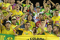 NEIVA - COLOMBIA, 17-02-2020.Hinchas del Atlético Huila. Atlético Huila  y Fortaleza CEIF en partido por fecha 3 del Torneo BetPlay DIMAYOR I 2020 jugado en el estadio Guillermo Plazas Alcid de la ciudad de Neiva. /Fans of Atletico Huila.Atletico Huila and Fortaleza CEIF for the date 3 of the BetPlay DIMAYOR Tournament  I 2020 played at Guillermo Plazas Alcid stadium in Neiva city. Photo: VizzorImage / Sergio Reyes / Cont