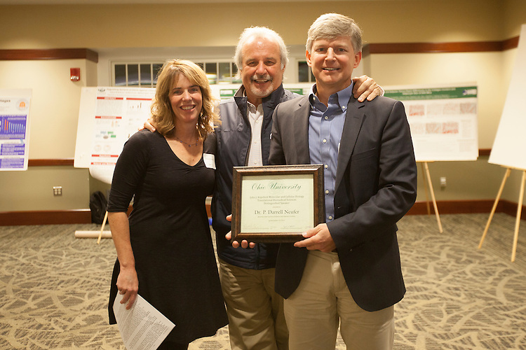 Dr. Darlene Berryman and Dr. John Kopchick pose for a photo with Dr. P. Darrell Neufer, who was given the John J. Kopchick Molecular and Celluler Biology Translational Biomedical Sciences Distinguished Speaker award in Nelson Commons, on Saturday, November 14, 2015. Photo by Kaitlin Owens