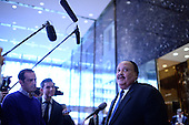 Martin Luther King III (r) speaks to members of the media after a meeting with President-Elect Donald J. Trump (not pictured) in the lobby of the Trump Tower in New York, NY, on January 16, 2017. <br /> Credit: Anthony Behar / Pool via CNP