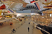"Chantilly, Virginia - December 5, 2003 -- Wide angle photo of part of the exhibit area in the new Steven F. Udvar-Hazy Center of the National Air and Space Museum in Chantilly, Virginia.  The Air France Concorde dominates the background.  Also visible are the Boeing 307 Stratoliner at right, and the left wing and fuselage of the Boeing 367-80 ""Dash 80"" which was the prototype aircraft for the commercial Boeing 707 jetliner..Credit: Ron Sachs / CNP.(RESTRICTION: NO New York or New Jersey Newspapers or newspapers within a 75 mile radius of New York City)"