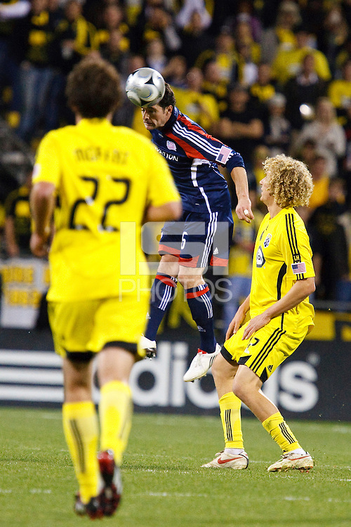 25 OCTOBER 2009:  Adam Moffat of the Columbus Crew (22), Jay Heaps of the New England Revolution (6) and Steven Lenhart of the Columbus Crew (32) during the New England Revolution at Columbus Crew MLS game in Columbus, Ohio on October 25, 2009.