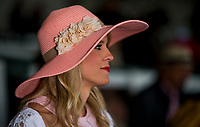LOUISVILLE, KY - MAY 05: A woman wears a fancy hat on Kentucky Oaks Day at Churchill Downs on May 5, 2017 in Louisville, Kentucky. (Photo by Douglas DeFelice/Eclipse Sportswire/Getty Images)