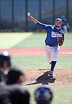 Wildcats' Ty Fox pitches against Colorado Northwestern at Western Nevada College, in Carson City, Nev., on Friday, March 13, 2015. <br /> Photo by Cathleen Allison