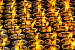 Candles in a Buddhist temple, Bouddhanath Stupa, Kathmandu, Nepal
