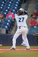 Tampa Tarpons shortstop Thairo Estrada (27) at bat during a game against the Daytona Tortugas on April 18, 2018 at George M. Steinbrenner Field in Tampa, Florida.  Tampa defeated Daytona 12-0.  (Mike Janes/Four Seam Images)