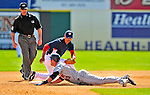 8 March 2009: New York Mets' outfielder Kirk Nieuwenhuis slides safely into second for an RBI double in the eighth inning  of a Spring Training game against the Washington Nationals at Space Coast Stadium in Viera, Florida. The Nationals defeated the Mets 8-3 in the Grapefruit League matchup. Mandatory Photo Credit: Ed Wolfstein Photo