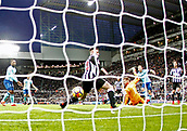 4th November 2017, St James Park, Newcastle upon Tyne, England; EPL Premier League football, Newcastle United Bournemouth; Marc Pugh of AFC Bournemouth shot was deflected onto the post by Rob Elliot and Ciaran Clark of Newcastle United late in the 0-1 win