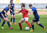 20190304 - LARNACA , CYPRUS : Austrian Sarah Zadrazil pictured with Slovakian Maria Mikolajova (r) during a women's soccer game between Slovakia and Austria , on Monday 4 th March 2019 at the GSZ Stadium in Larnaca , Cyprus . This is the third and last game in group C for both teams during the Cyprus Womens Cup 2019 , a prestigious women soccer tournament as a preparation on the Uefa Women's Euro 2021 qualification duels. PHOTO SPORTPIX.BE | DAVID CATRY
