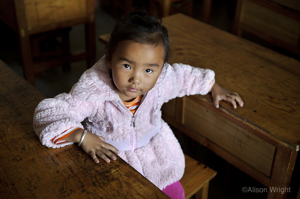Chinese girl in school, Dalai, Yunnan, China, 2010