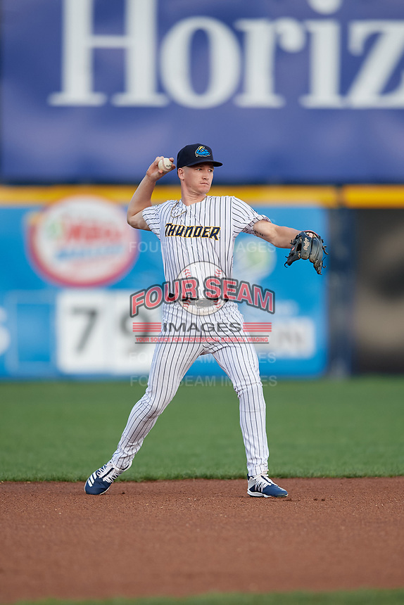 Trenton Thunder shortstop Kyle Holder (6) throws to first base during an Eastern League game against the New Hampshire Fisher Cats on August 20, 2019 at Arm & Hammer Park in Trenton, New Jersey.  New Hampshire defeated Trenton 7-2.  (Mike Janes/Four Seam Images)